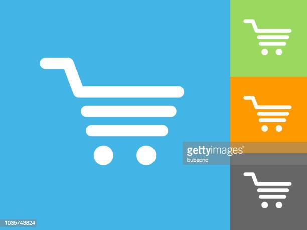 shopping cart flat icon on blue background - shopping cart stock illustrations