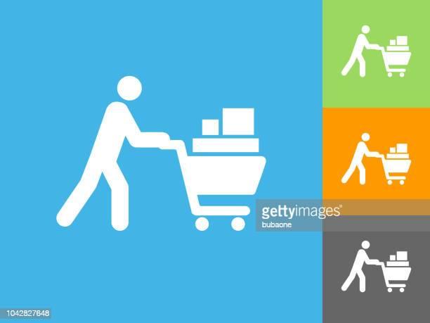 Shopping Cart platte pictogram op blauwe achtergrond