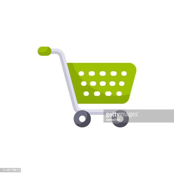 shopping cart flat icon. pixel perfect. for mobile and web. - shopping cart stock illustrations