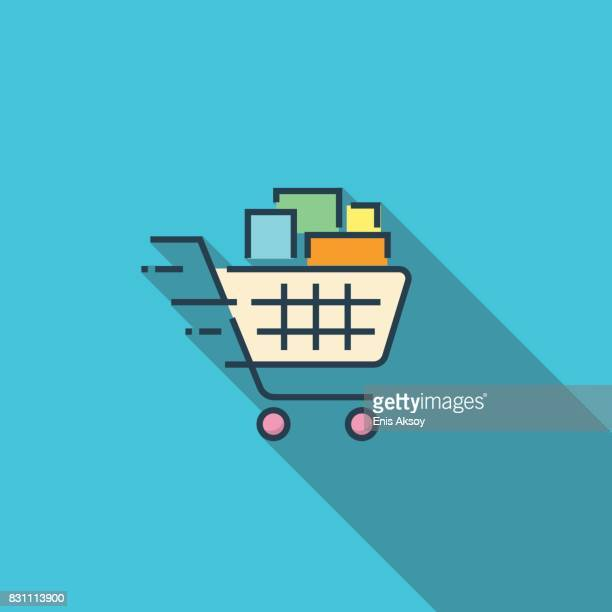shopping cart flat icon - shopping cart stock illustrations