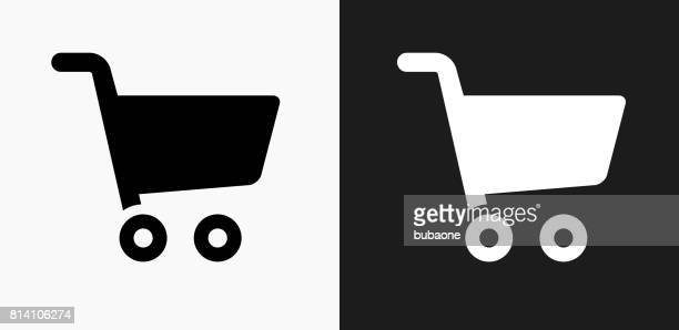 shopping cart icon on black and white vector backgrounds - shopping cart stock illustrations