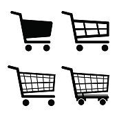 Shopping Cart Icon set icon isolated on white background. Vector illustration.