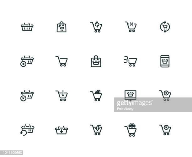 ilustrações de stock, clip art, desenhos animados e ícones de shopping cart icon set - thick line series - colocar