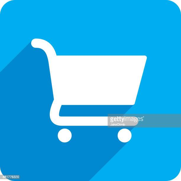 shopping cart icon silhouette - shopping cart stock illustrations