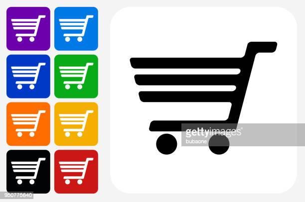 ilustrações de stock, clip art, desenhos animados e ícones de shopping cart icon square button set - carrinhodecompras