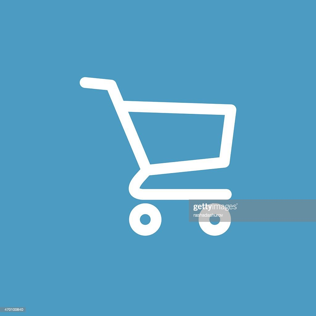 shopping cart icon, white on the blue background