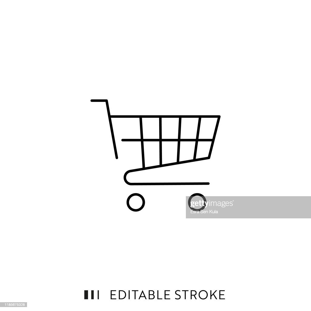 Shopping Cart Icon with Editable Stroke and Pixel Perfect. : stock illustration