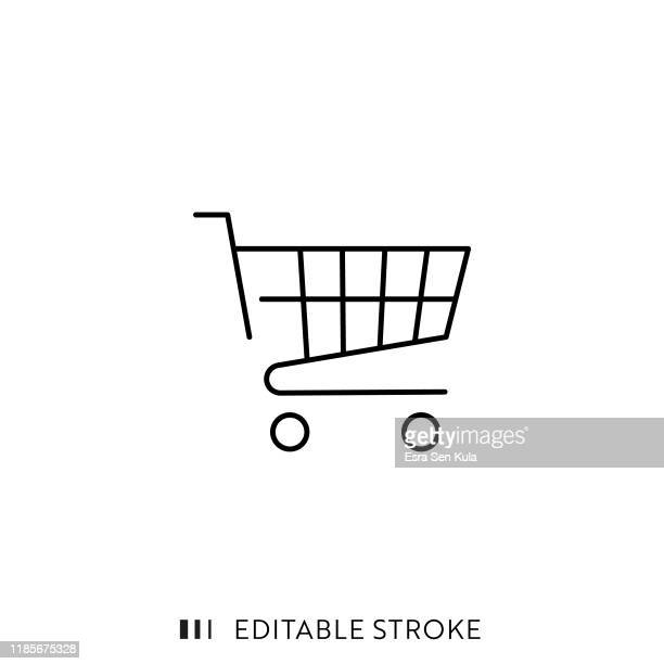 shopping cart icon with editable stroke and pixel perfect. - shopping cart stock illustrations