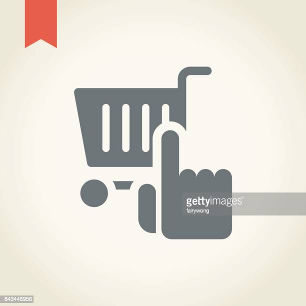 shopping cart icon with hand icon - ordering stock illustrations, clip art, cartoons, & icons