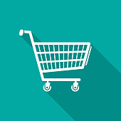 Shopping cart icon with long shadow. Flat design style.