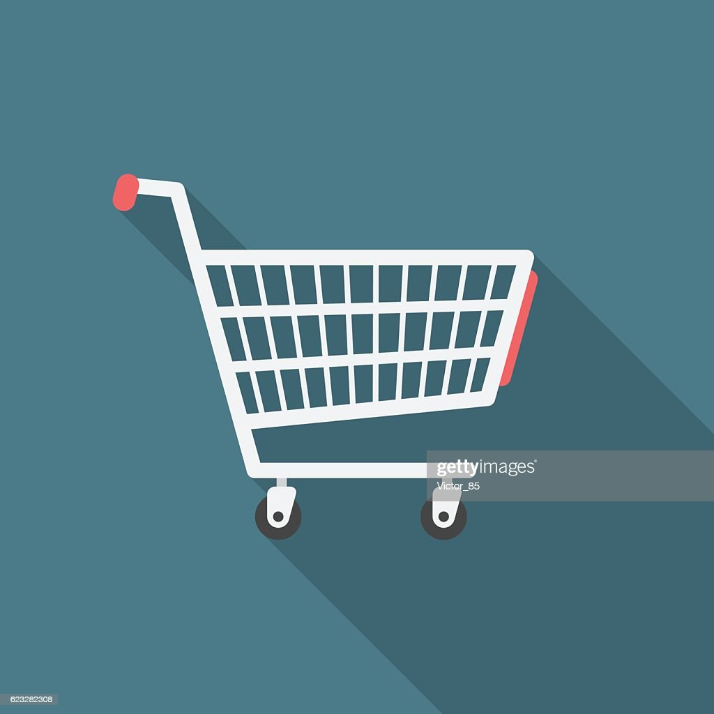 Shopping cart icon with long shadow.