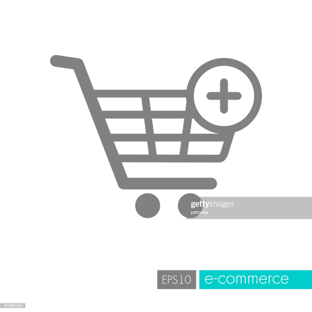 Shopping cart icon with plus sign