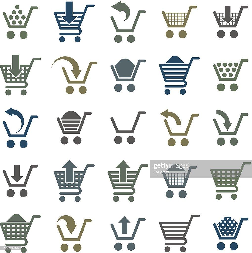 Shopping cart icons isolated on white background vector set