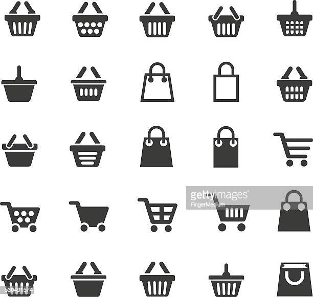 shopping cart icons - shopping cart stock illustrations