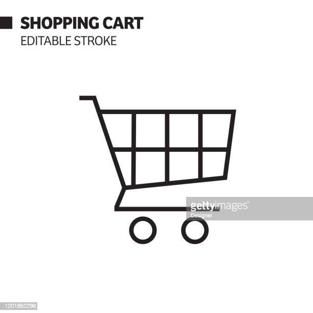 einkaufswagen linie symbol, umriss vektor symbol illustration. pixel perfekt, editierbarer strich. - einkaufswagen stock-grafiken, -clipart, -cartoons und -symbole
