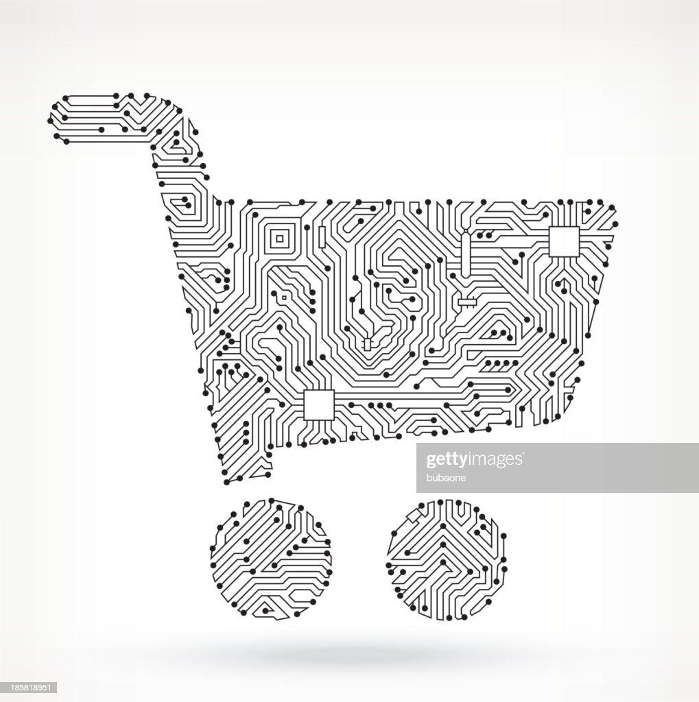 Shopping Cart on Circuit Board : stock illustration
