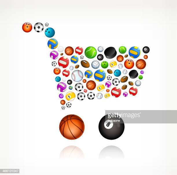 shopping cart on sport balls - pool ball stock illustrations, clip art, cartoons, & icons