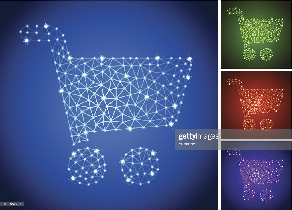 Shopping Cart on triangular nodes connection structure vector art : stock illustration