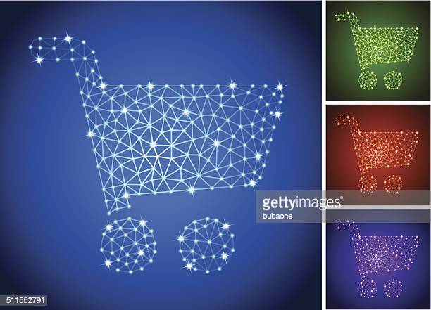 Shopping Cart on triangular nodes connection structure vector art