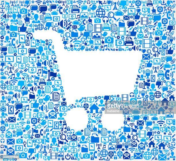 illustrations, cliparts, dessins animés et icônes de panier d'achat sur fond de motifs, illustration de technologie - vendre