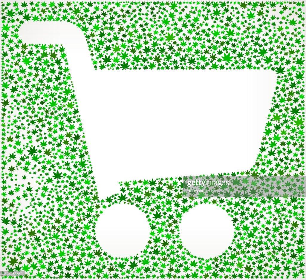 Carrinho de compras com ervas daninhas arte vetorizada isenta de royalties padrão : Ilustração