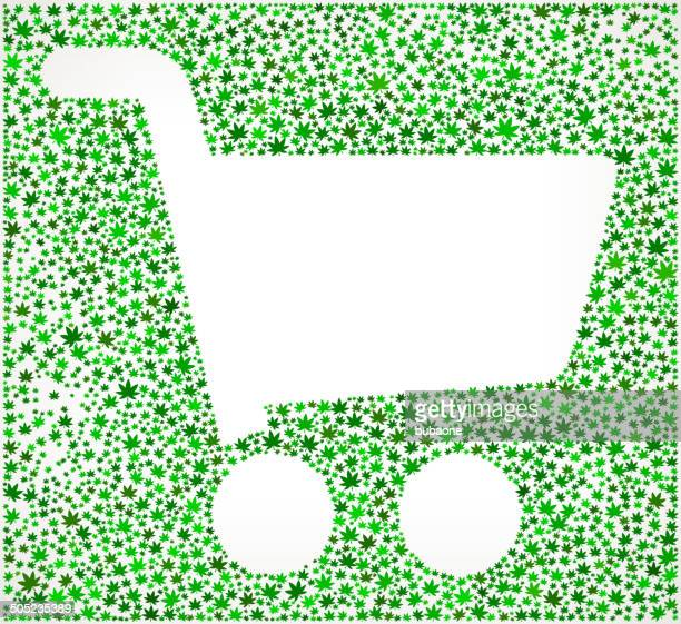 shopping cart on weed royalty free vector art pattern - marijuana leaf text symbol stock illustrations, clip art, cartoons, & icons