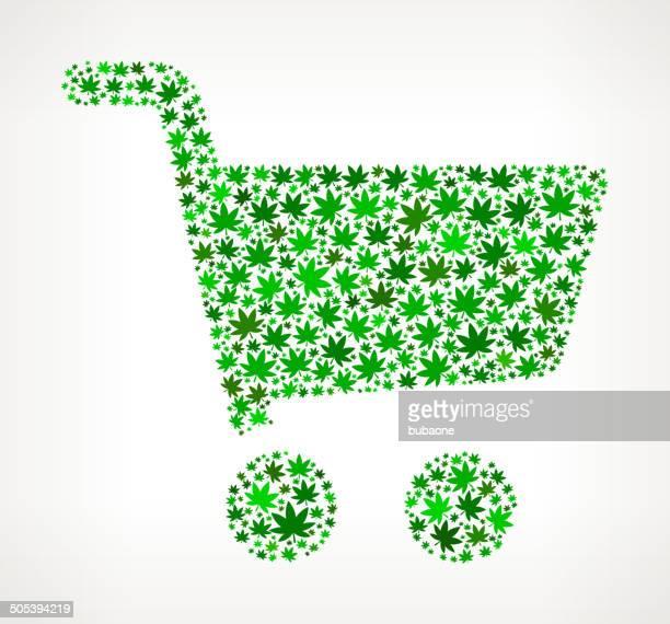 shopping cart on weed royalty free vector art pattern - marijuana leaf text symbol stock illustrations, clip art, cartoons, & icons