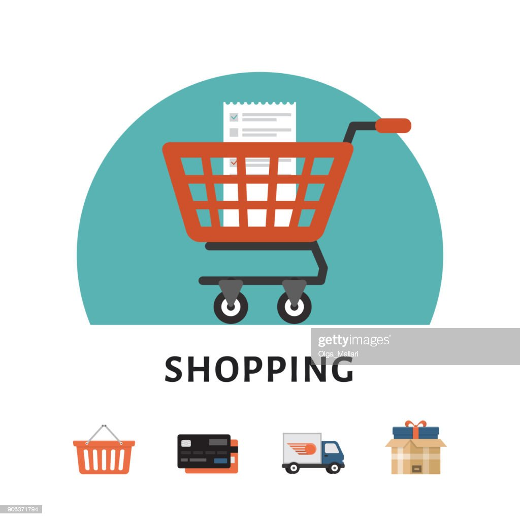 Shopping cart. Online shopping concept. Shopping icons. Flat style, vector illustration.