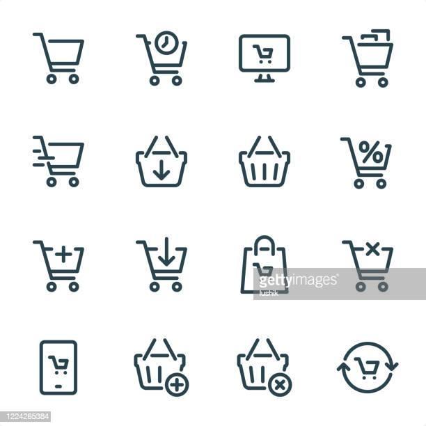 warenkorb - pixel perfect unicolor liniensymbole - einkaufswagen stock-grafiken, -clipart, -cartoons und -symbole
