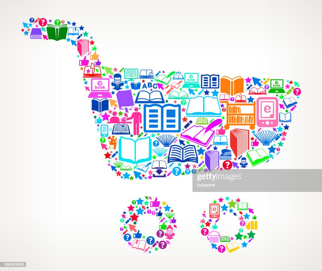 Shopping Cart Reading Books And Education Vector Icon