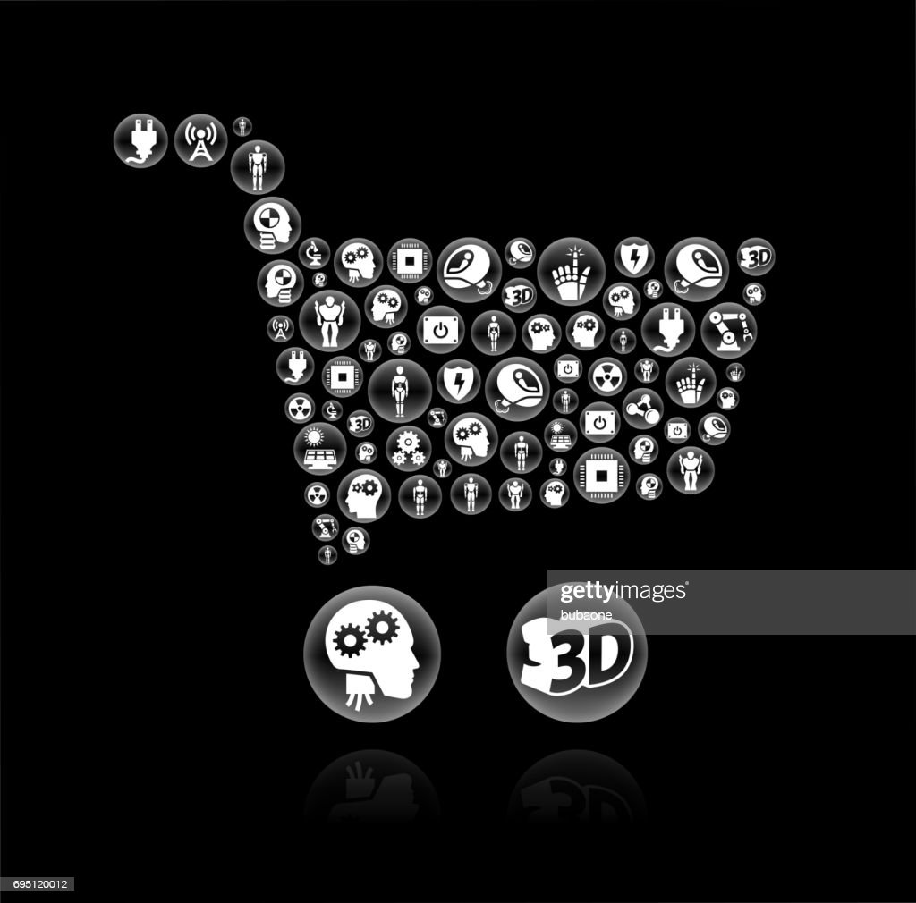 Shopping Cart Robots And Robotics Black Vector Button Pattern Vector