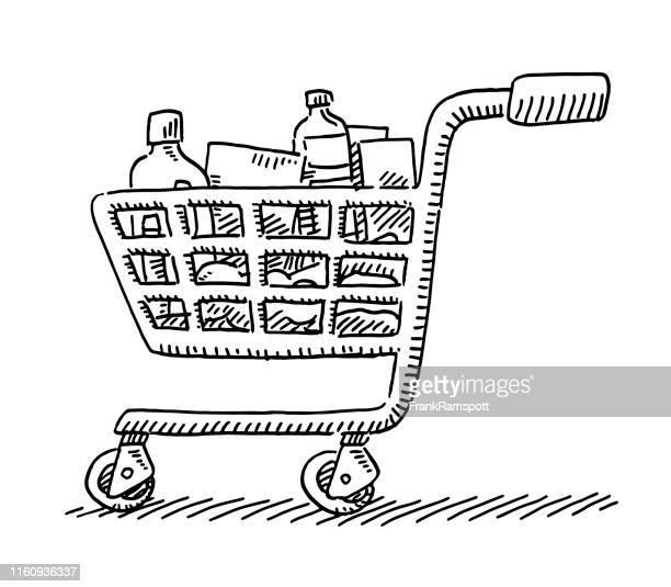 warenkorb symbolzeichnung - einkaufswagen stock-grafiken, -clipart, -cartoons und -symbole