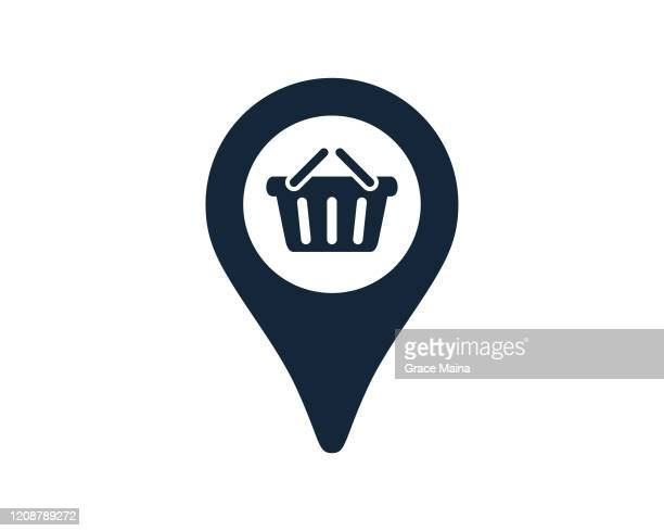 shopping cart symbol with navigation location map pin icon vector illustration - locator map stock illustrations