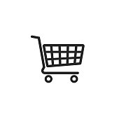 Shopping cart vector icon, supermarket trolley pictogram