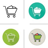 Shopping cart with boxes icons