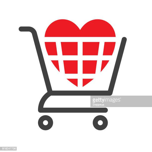 shopping cart with heart - shopping cart stock illustrations