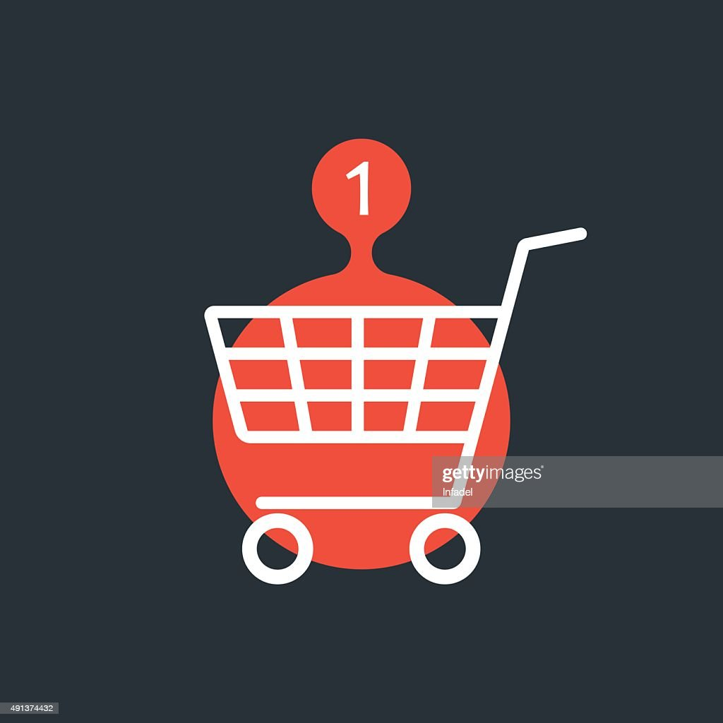 shopping cart with one purchase red sign