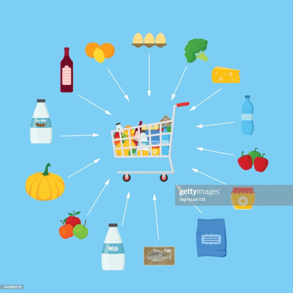 Shopping Cart with Products Shopping Concept. Vector