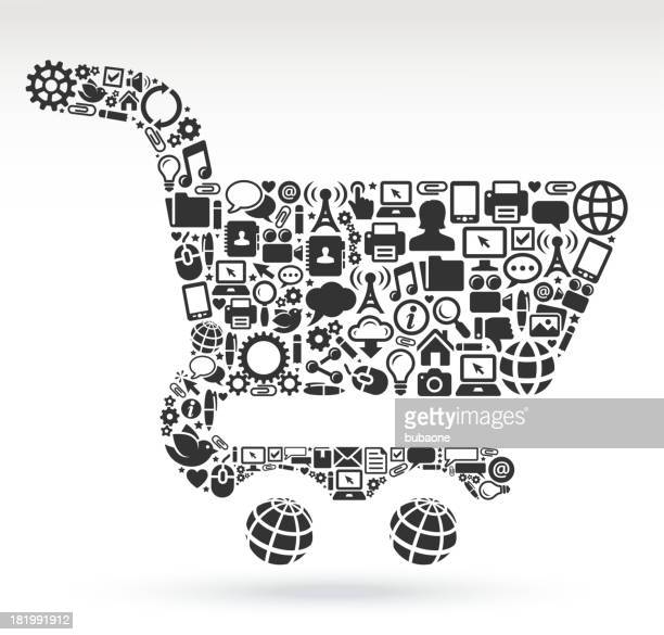 Shopping Cart with Technology and Internet royalty free vector arts
