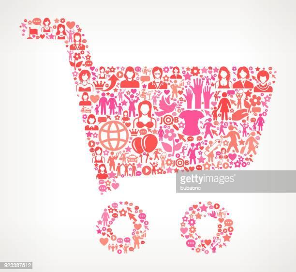 ilustraciones, imágenes clip art, dibujos animados e iconos de stock de compras carrito derechos de la mujer y niña potencia icono patrón - madre trabajadora