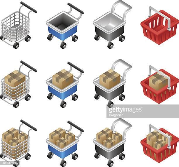 einkaufswagen-kollektion - handwagen stock-grafiken, -clipart, -cartoons und -symbole