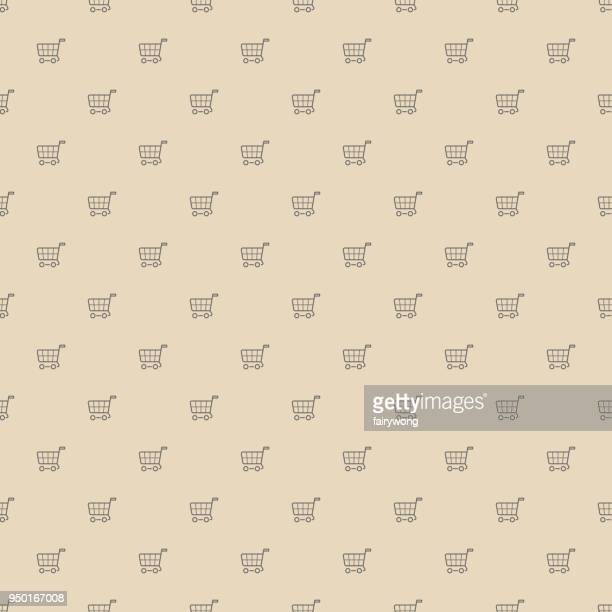 Shopping carts, seamless pattern