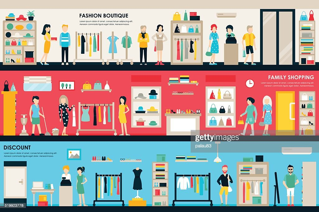 Shopping Center and Boutique Rooms flat shop interior concept web