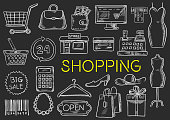 Shopping chalk sketch isolated vector icons
