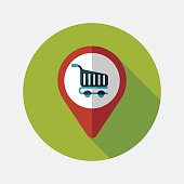 shopping check into place flat icon with long shadow,eps10