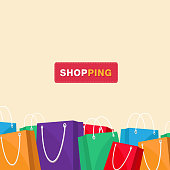 Shopping Colorful Shopping Bag Background Vector Image