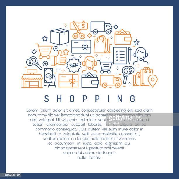 Concepto de compras-coloridos iconos de línea, dispuestos en círculo