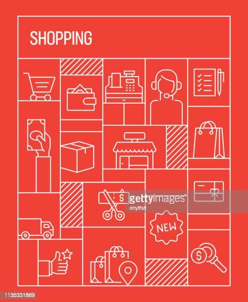 Concepto de compras. Banner de estilo retro geométrico y concepto de póster con los iconos de línea relacionados con las compras
