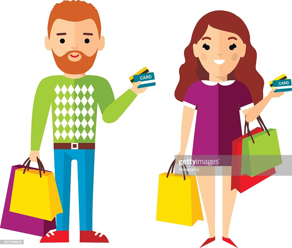 Shopping concept with couple people purchaser.