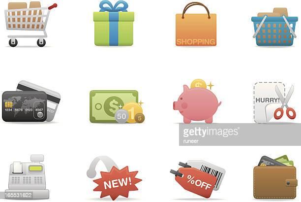 shopping & consumerism icons | premium matte series - cash flow stock illustrations, clip art, cartoons, & icons